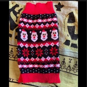 XS dog sweater Santa Christmas black and red